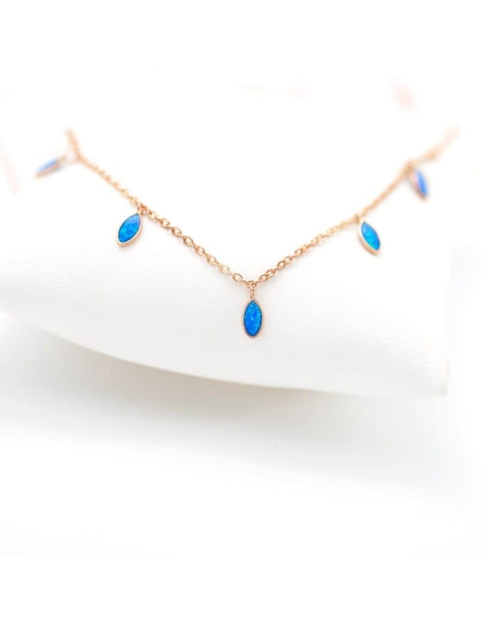 Blue Opal Teardrop Necklace - Gold