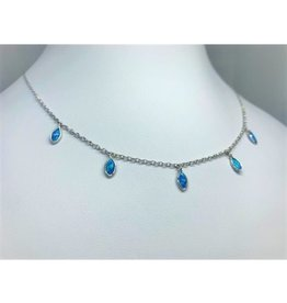 Blue Opal Teardrop Necklace - Silver