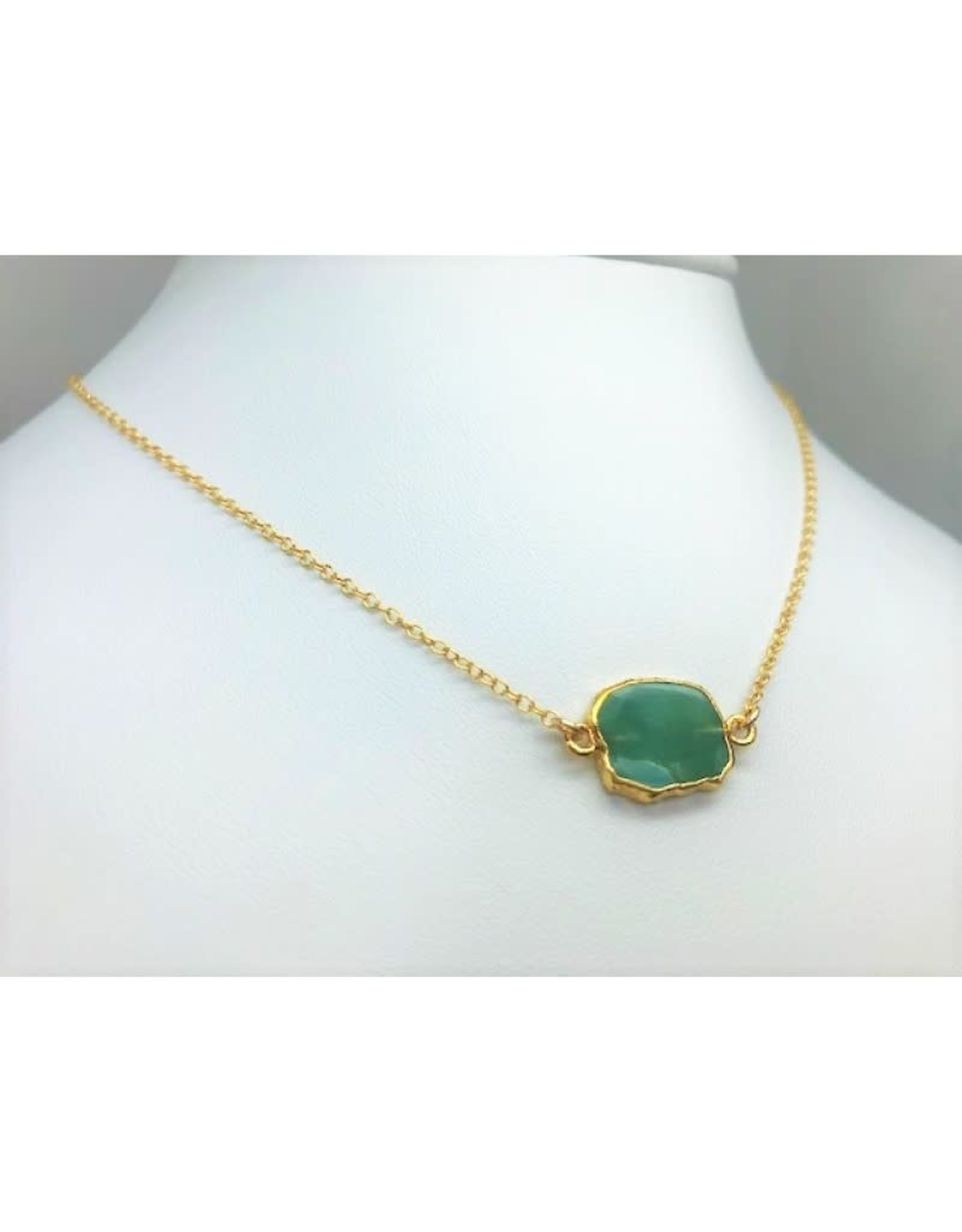 Gemstone Slice Necklace - Emerald