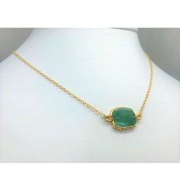 Gemstone Slice Necklace - Emerald
