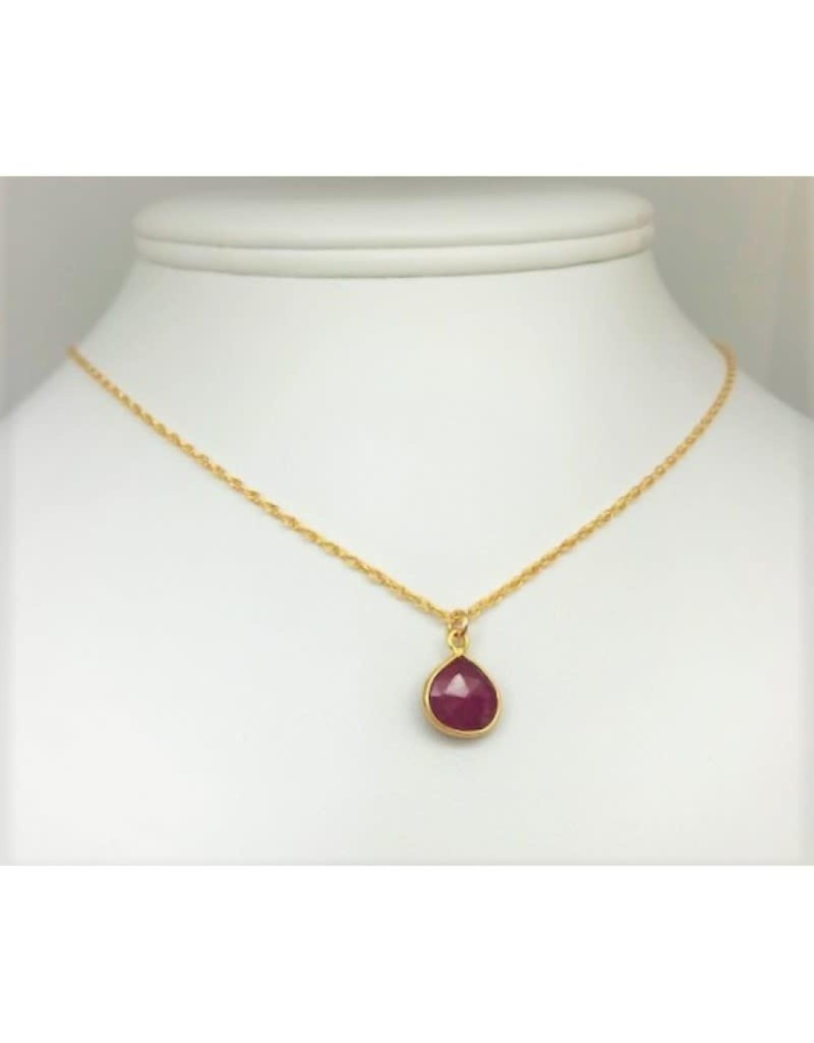 Bezel Set Necklace - Ruby
