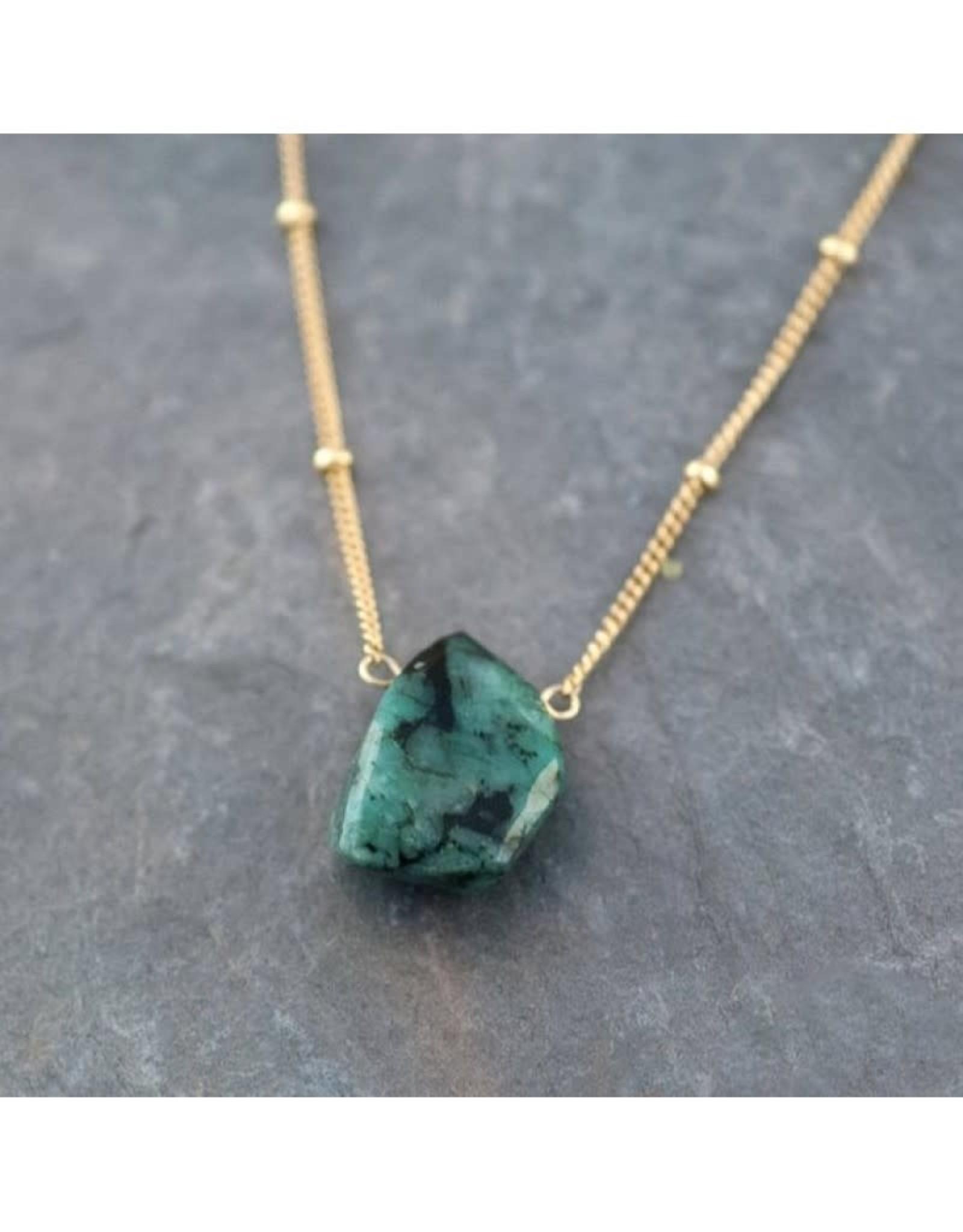 Raw Gemstone Necklace - Emerald