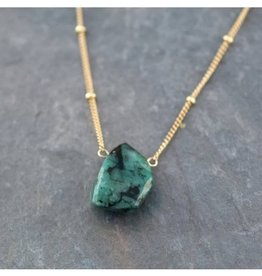 Raw Gemstone Necklace - Emerald