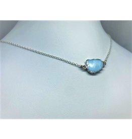 Gemstone Slice Necklace - Blue Opal