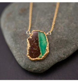 Gemstone Slice Necklace - Two Tone Chrysoprase