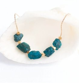 Raw Gemstone Necklace - Apatite Five Stone