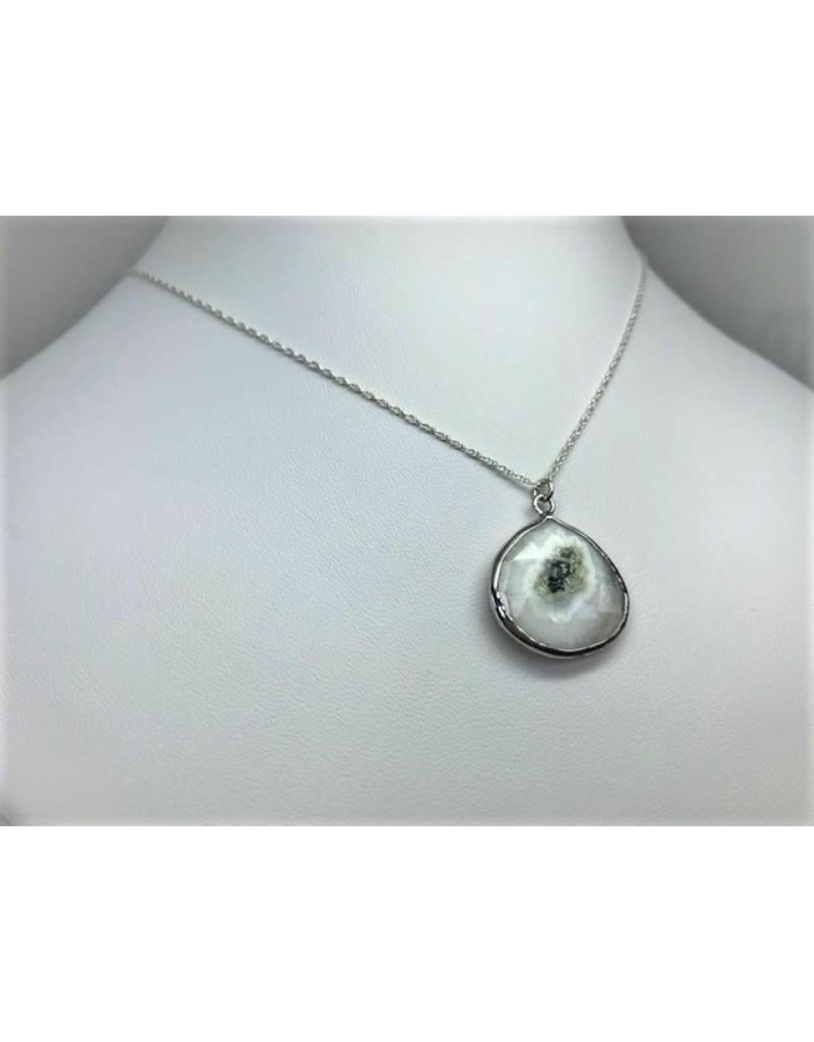 Solar Quartz Pendant Necklace - Silver