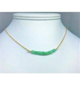 Gemstone Bar Necklace - Chrysoprase