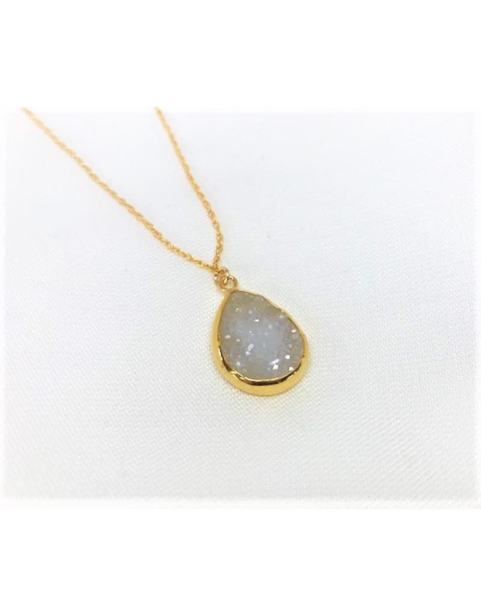 Druzy Pendant Necklace - Gold