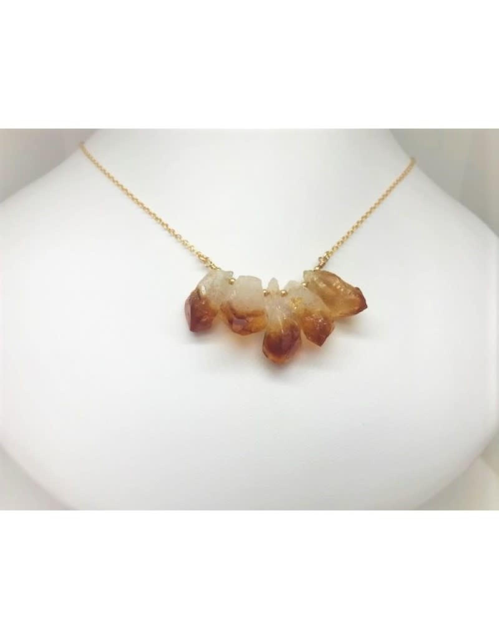 Raw Gemstone Necklace - Citrine Seven Stone