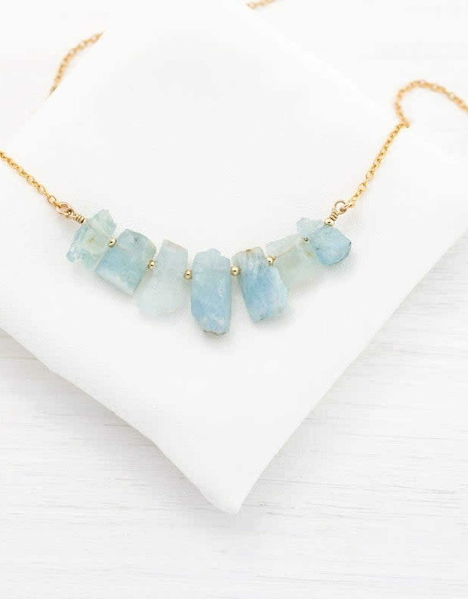 Raw Gemstone Necklace - Aquamarine Five Stone