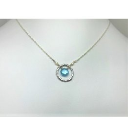 Hammered Circle Necklace - Blue Topaz