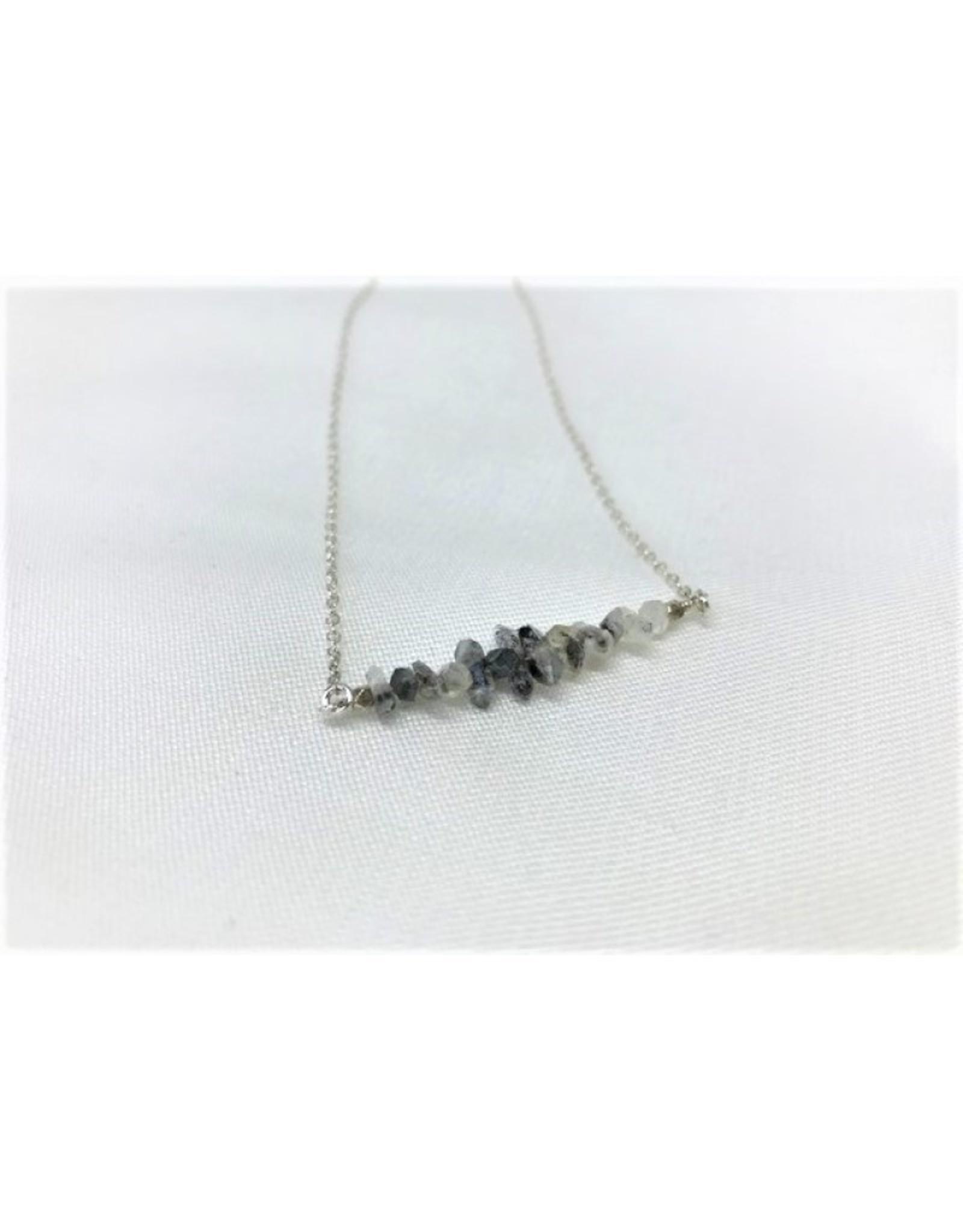 Gemstone Bar Necklace - Herkimer Diamond