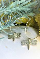 Hoop Earrings - Dragonfly/SIlver
