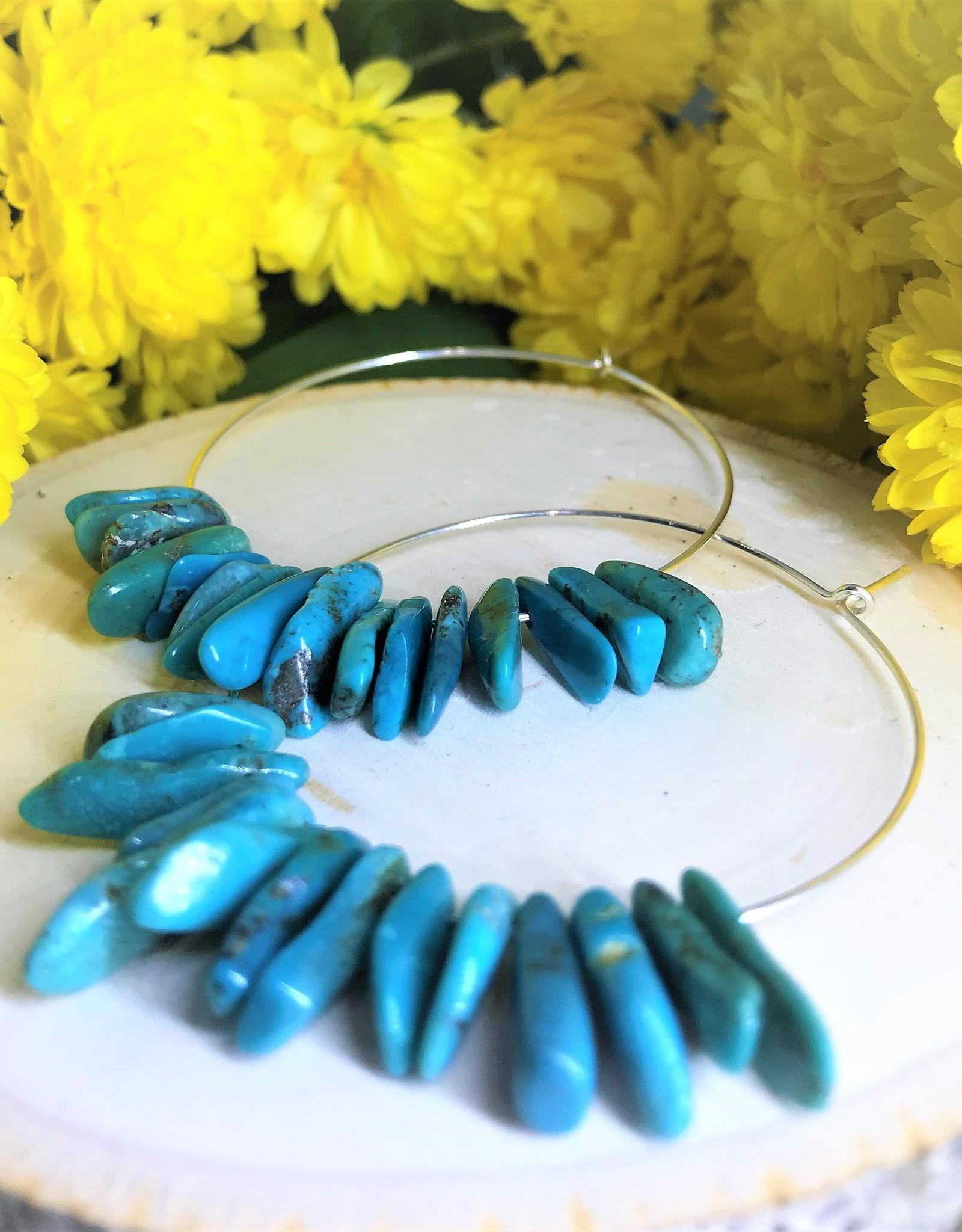 Hoop Earrings - Raw Turquoise/Silver