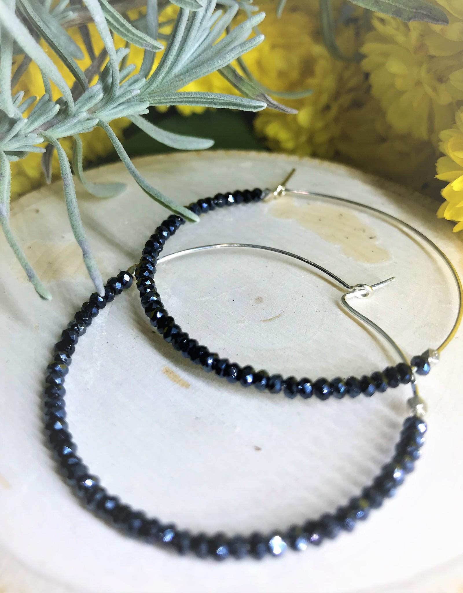 Hoop Earrings - Blue Spinal/Silver