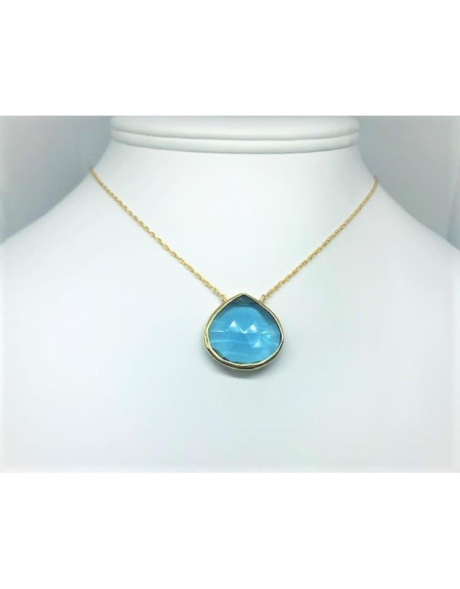Blue Topaz Pendant Necklace - Gold