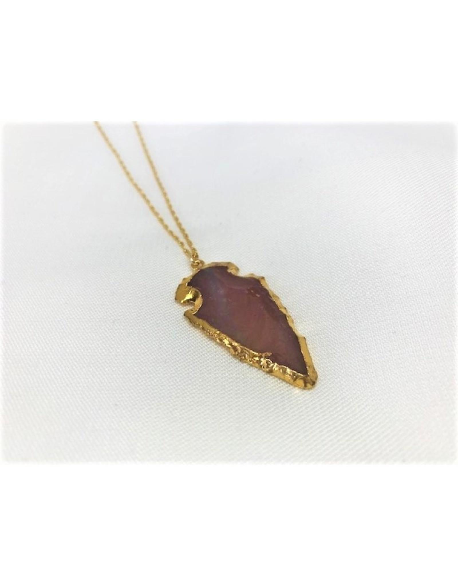 Arrowhead Necklace - Agate/Gold