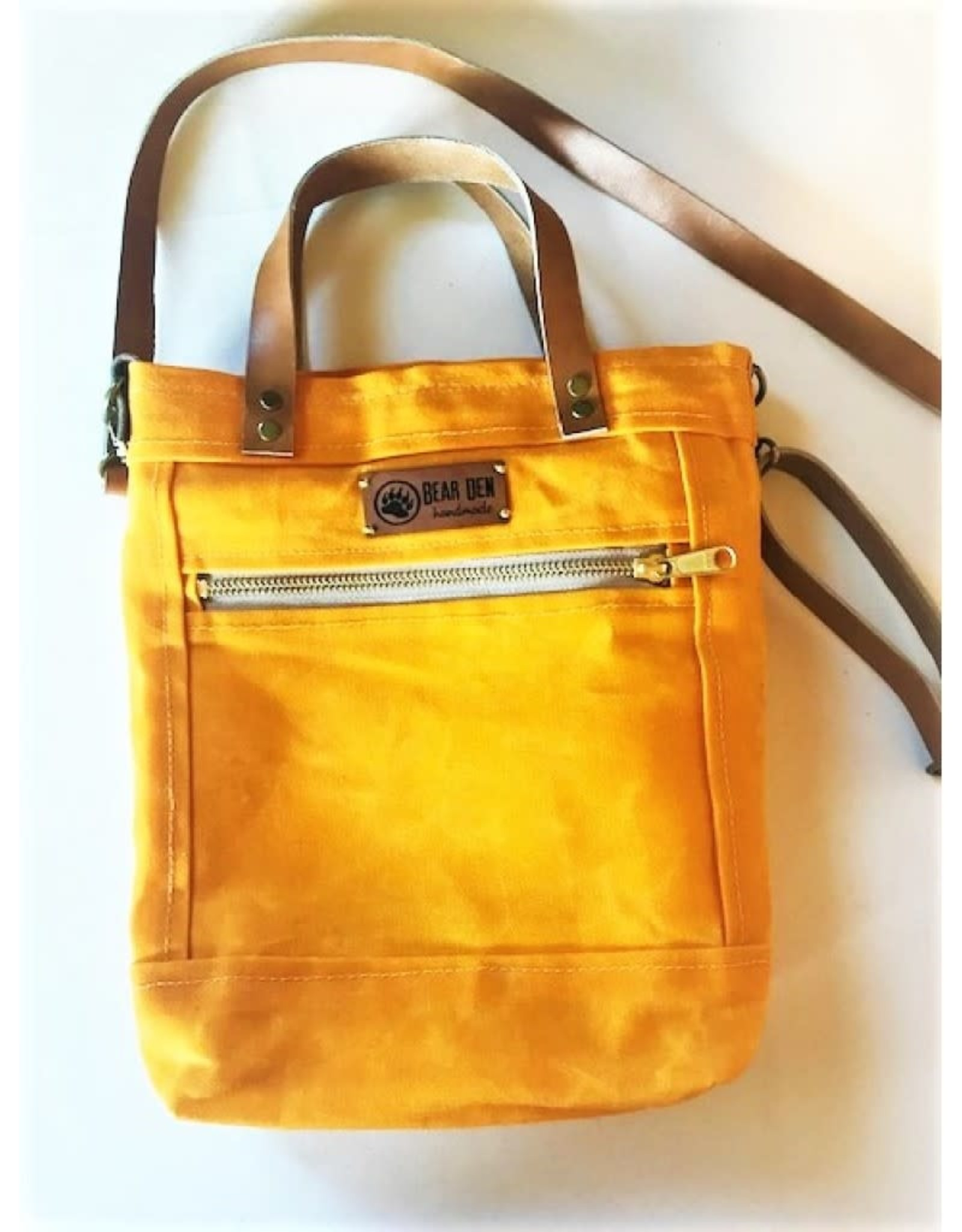 Bear Den Handmade Crossbody Waxed Canvas Tote - Sunflower