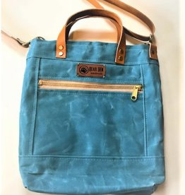 Bear Den Handmade Crossbody Waxed Canvas Tote - Beach Blue