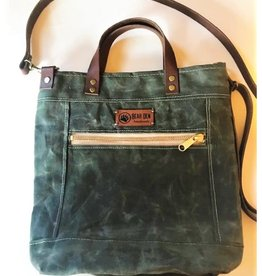 Bear Den Handmade Waxed Canvas Crossbody Tote - Olive