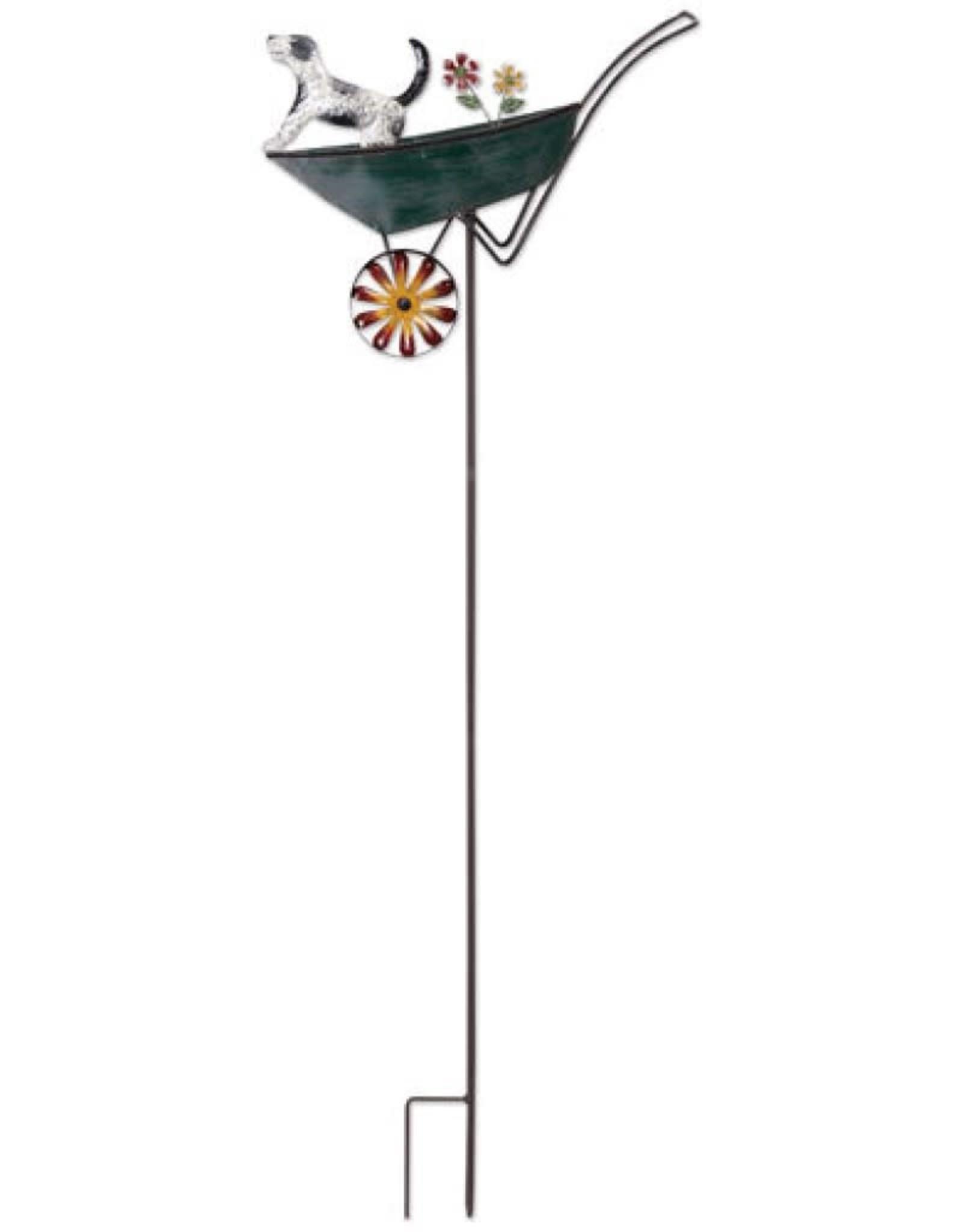 Wind Spinner Stake - Dog in Wheelbarrow