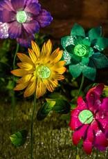 Colorful Glow in the Dark Metal Flower - Blue