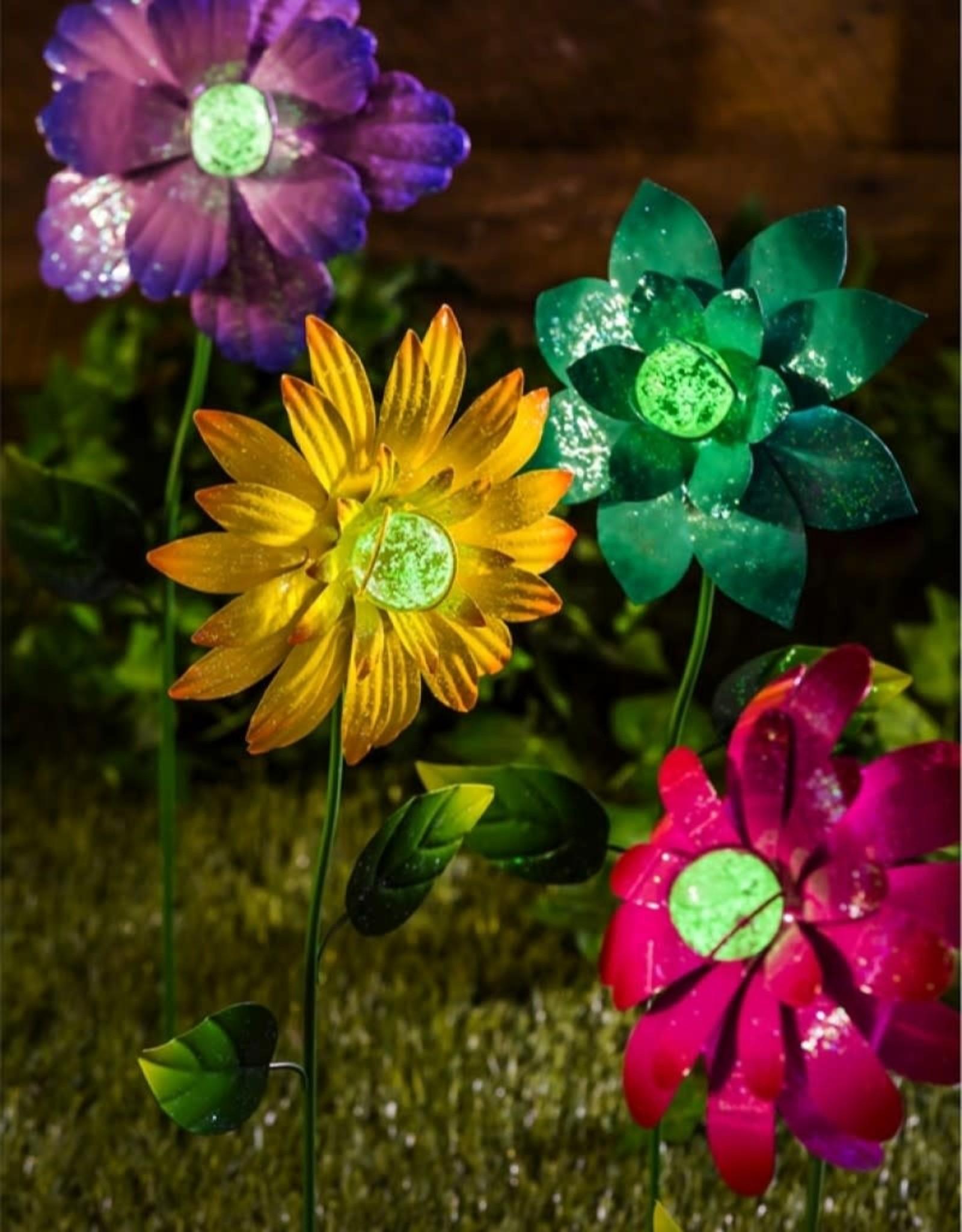 Colorful Glow in the Dark Metal Flower Stake - Purple