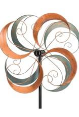 Kinetic Wind Spinner Stake - Verdigris Swirls