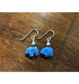 French Hook Earrings - Petoskey Stone & Denim Lapis Bear