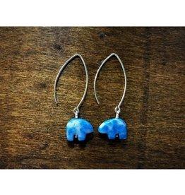 Dangle Earrings - Denim Lapis Bear