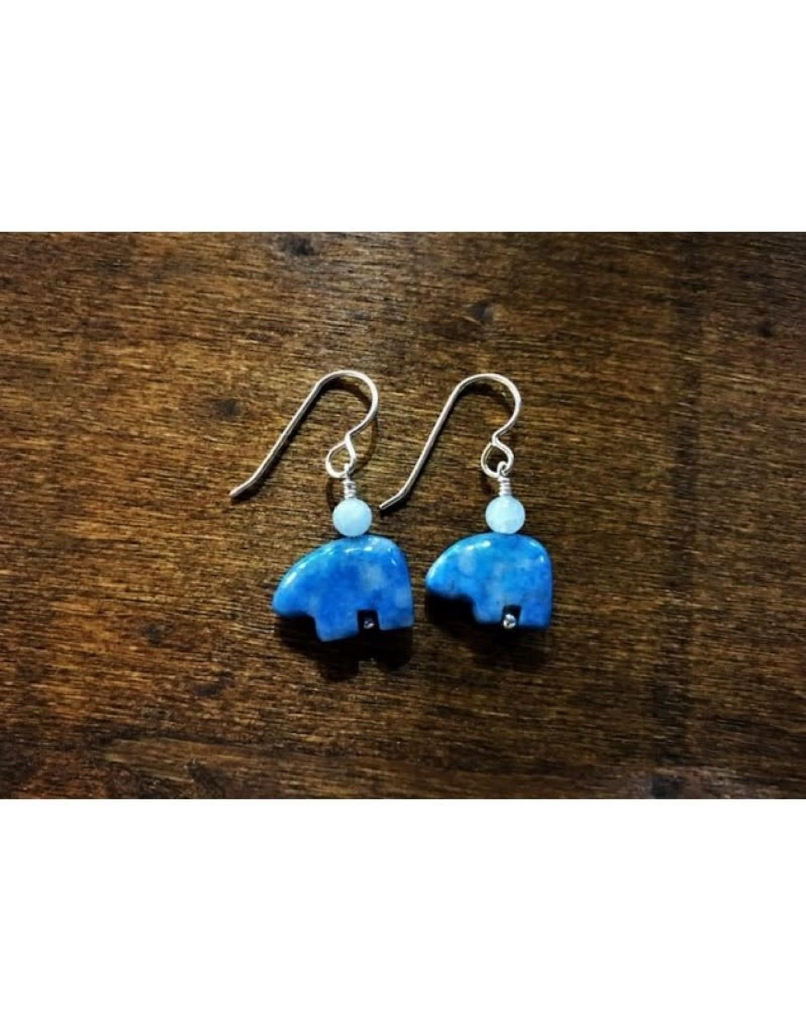 French Hook Earrings - Aquamarine & Denim Lapis Bear