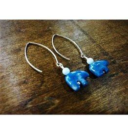 Dangle Earrings - Aquamarine & Denim Lapis Bear