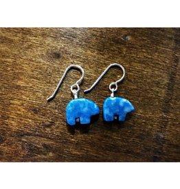 French Hook Earrings - Denim Lapis Bear
