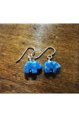 French Hook Earrings - Denim Lapis Bear