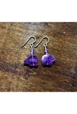 French Hook Earrings - Amethyst Bear