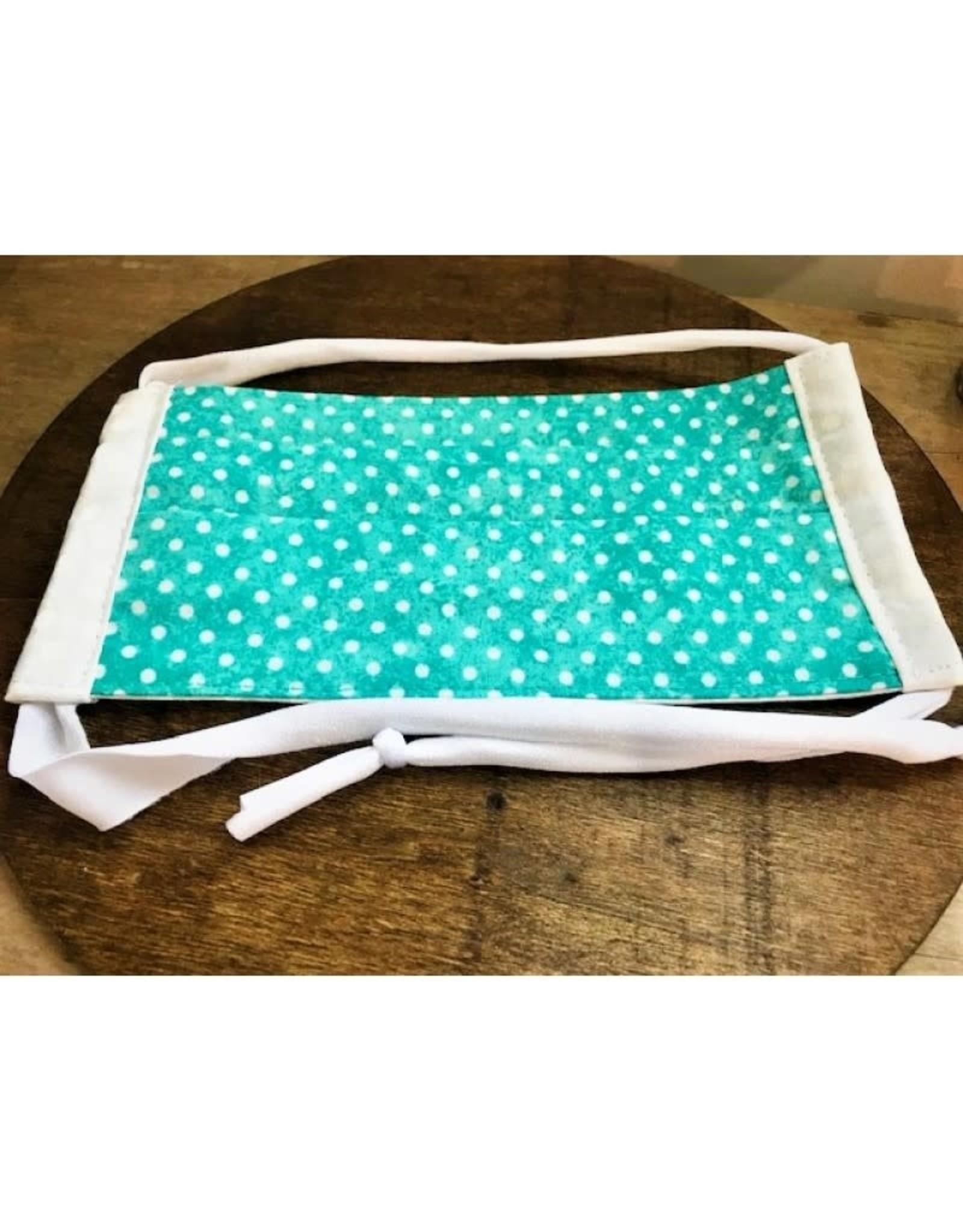 Bear Den Handmade Cotton Mask - Turquoise Polka Dot