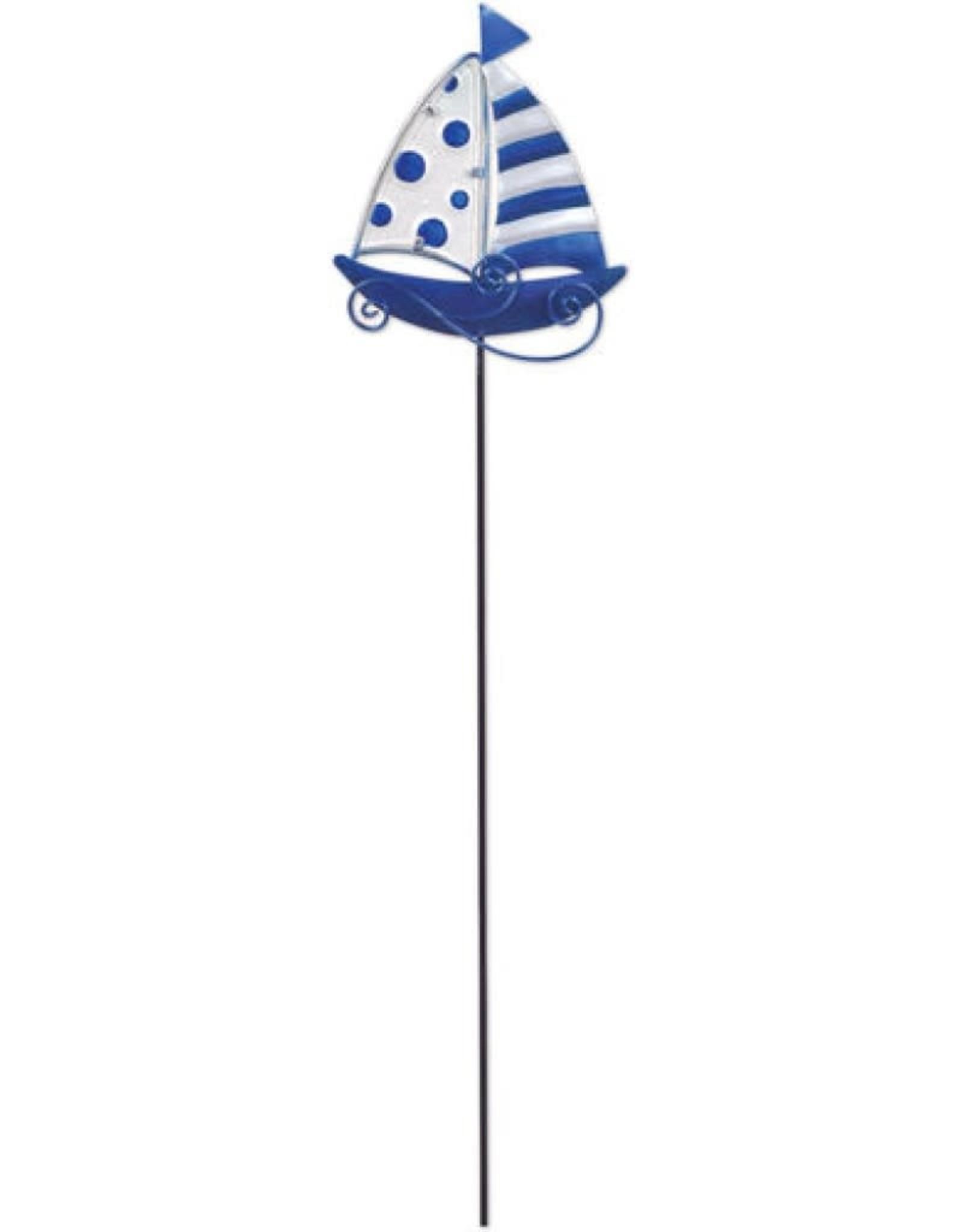 Garden Stake - Blue Sailboat