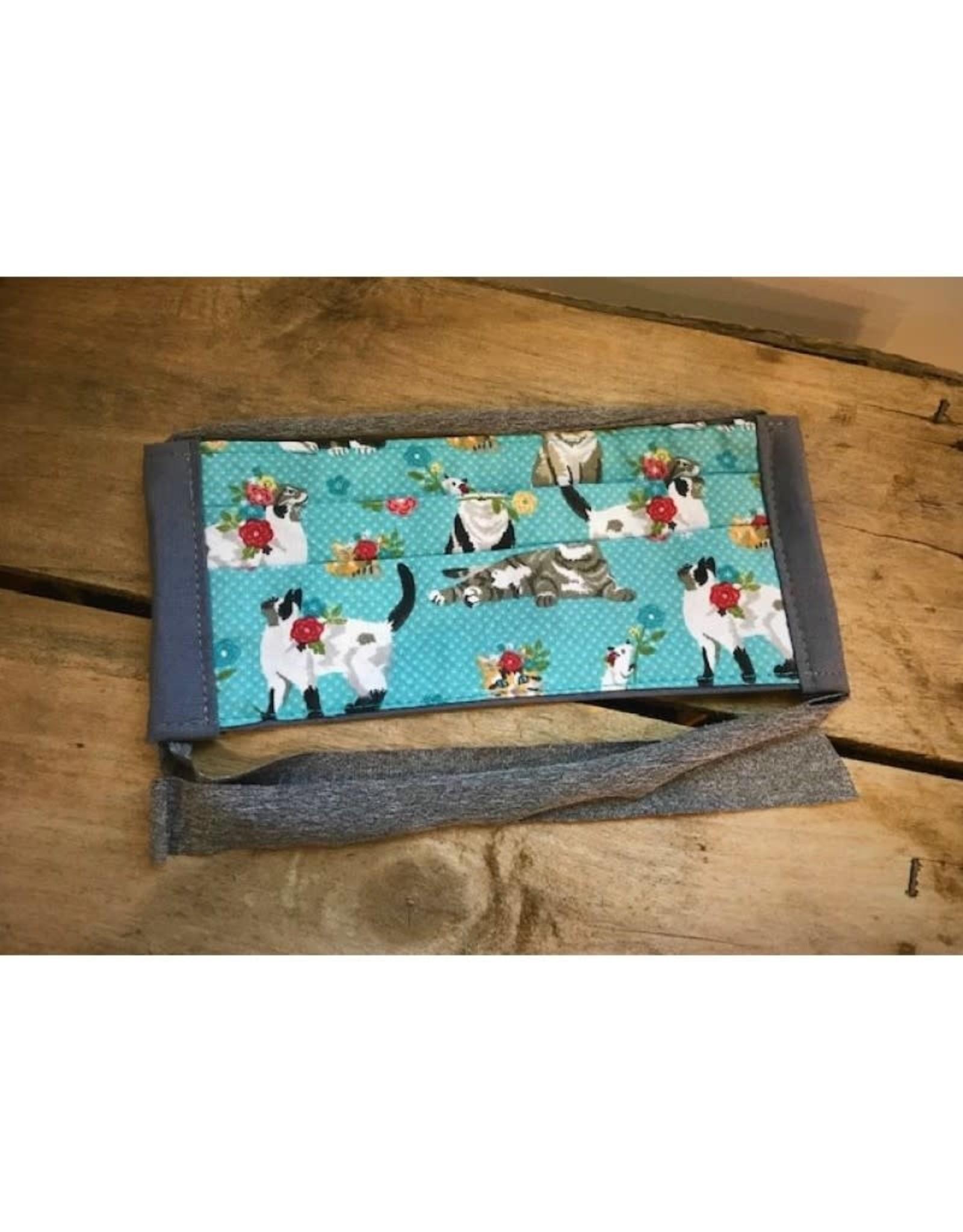 Bear Den Handmade Cotton Mask - Cats & Flowers