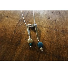 Ribbon Necklace Pendant - Petoskey Stone & Leland Blue