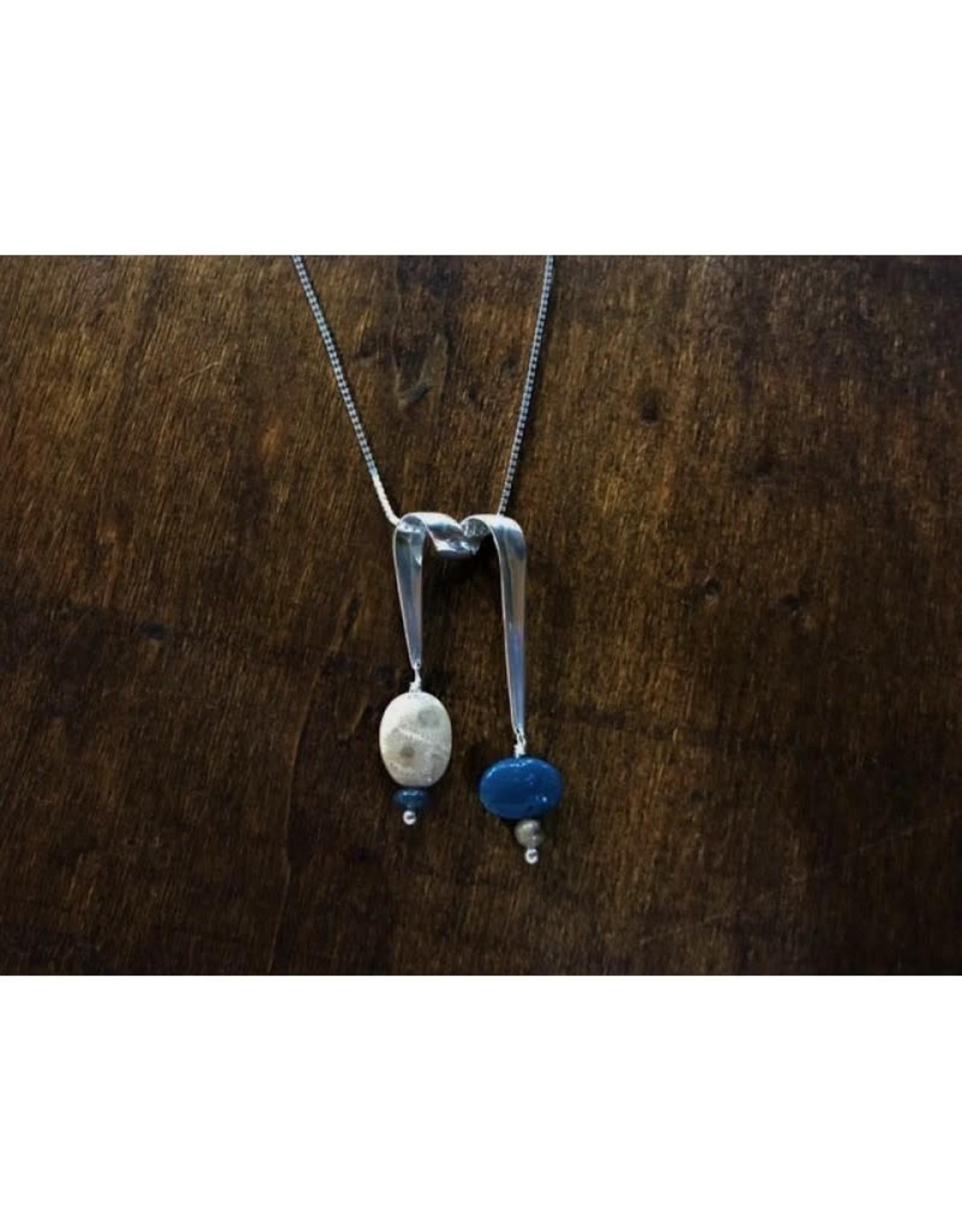 Ribbon Necklace Pendant - Petoskey & Leland Blue Stone