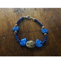 Bracelet - Petoskey Stone & Denim Lapis Bear