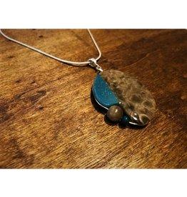Fused Pendant - Leland Blue & Petoskey Stone with Shaped Beads
