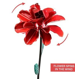 Kinetic Rose Stake - Red