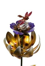 Solar Spinning Lotus Stake - Yellow with Dragonfly