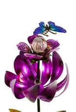 Solar Spinning Lotus Stake - Pink with Butterfly