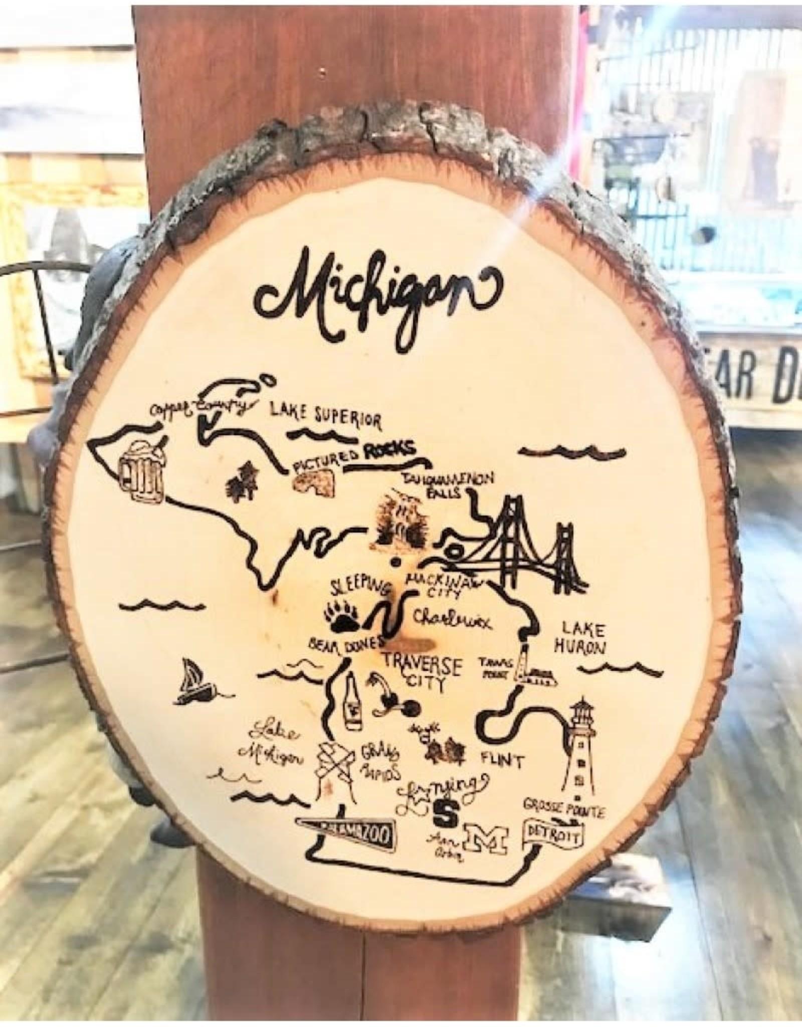 CraftCesi Natural Edge Wood Art - Michigan Map Natural