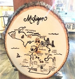 CraftCesi Natural Edge Wood Art - Michigan Map Natural