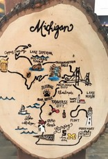 CraftCesi Natural Edge Wood Art - Michigan Map in Color