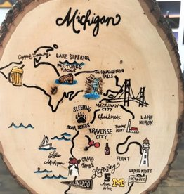 CraftCesi Natural Edge Wood Art - Michigan Map in Color